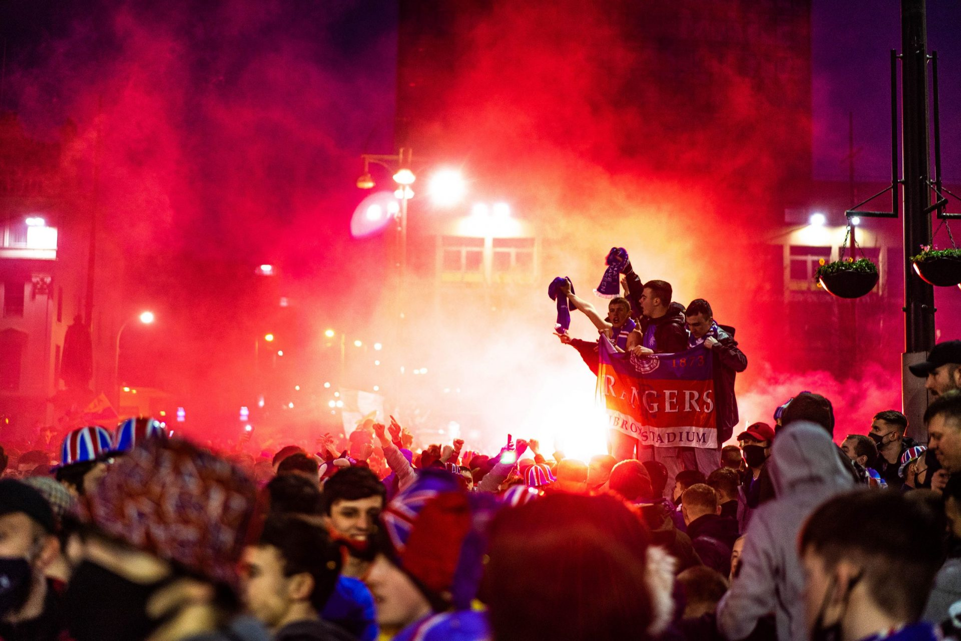 Glasgow Rangers fan celebrating 55th league title