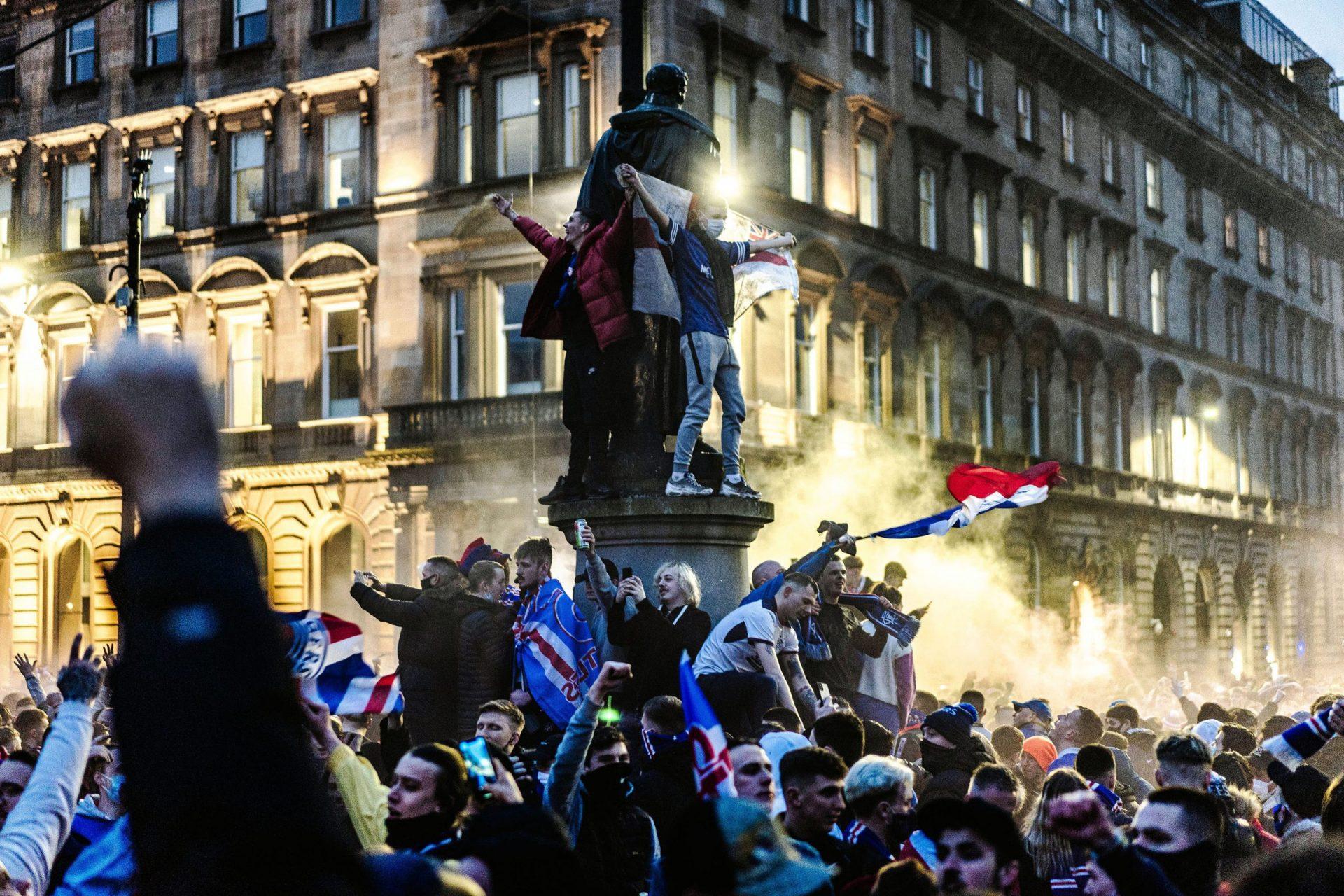 Glasgow Rangers fans celebrating 55th league title